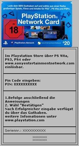 Playstation Network Card 20 Euro Paysafecard