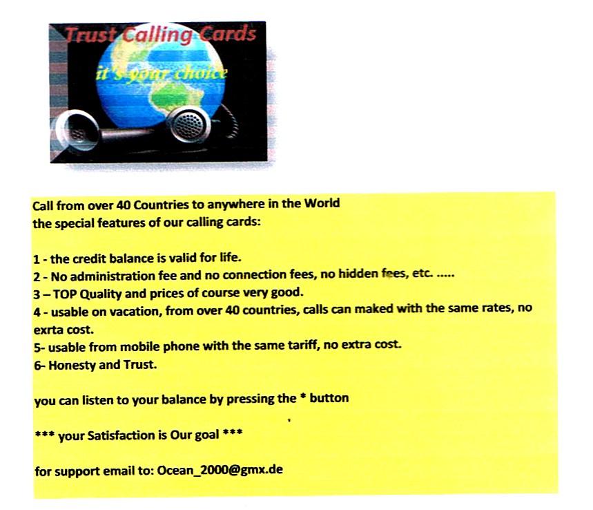 Trust Calling Card: u00b4u00b4Von u00fcberall nach u00fcberall telefonierenu00b4u00b4